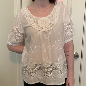 Lauren Michelle white lace blouse